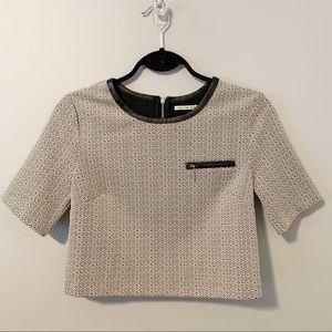 Mustard Seed Crop Shirt Black White Leather Zipper